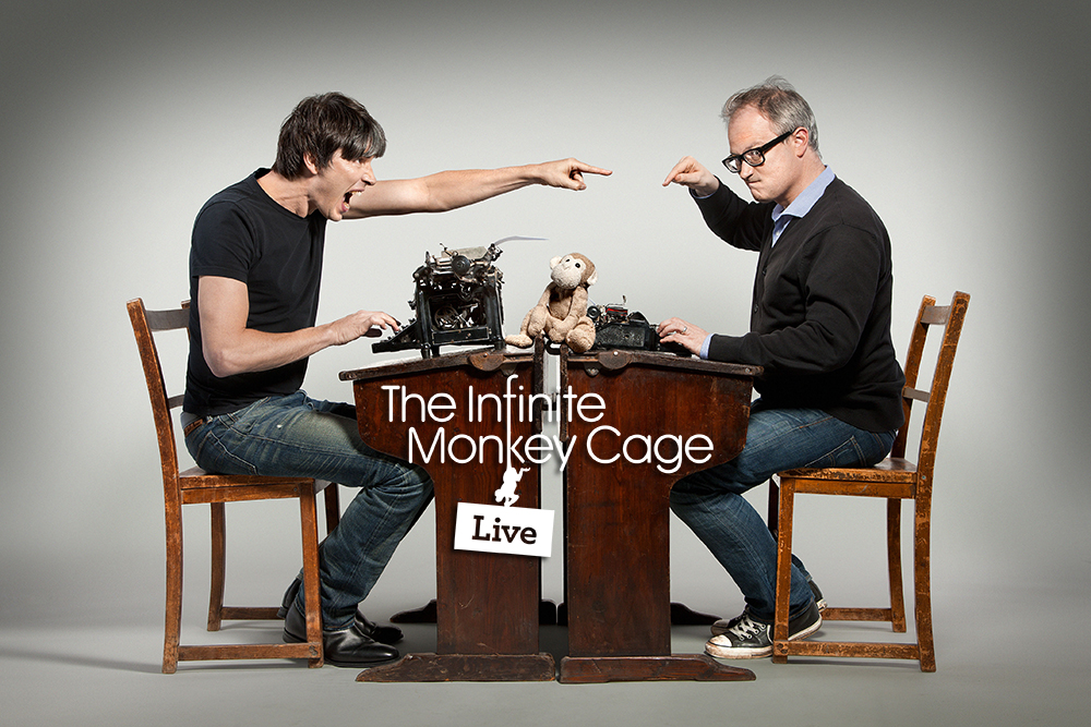 Programme Name: The Infinite Monkey Cage - TX: 19/01/2015 - Episode: n/a (No. n/a) - Picture Shows: (L-R) Professor Brian Cox, Robin Ince - (C) BBC - Photographer: Richard Ansett
